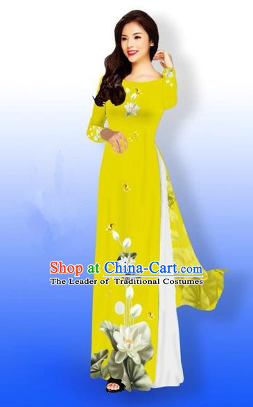 Traditional Top Grade Asian Vietnamese Costumes Full Dress, Vietnam National Ao Dai Dress Printing Flowers Round Collar Yellow Qipao for Women