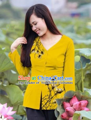 Traditional Top Grade Asian Vietnamese Costumes, Vietnam National Ao Dai Printing Yellow Blouse for Women