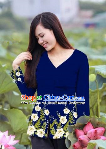 Traditional Top Grade Asian Vietnamese Costumes, Vietnam National Ao Dai Printing Navy Blouse for Women
