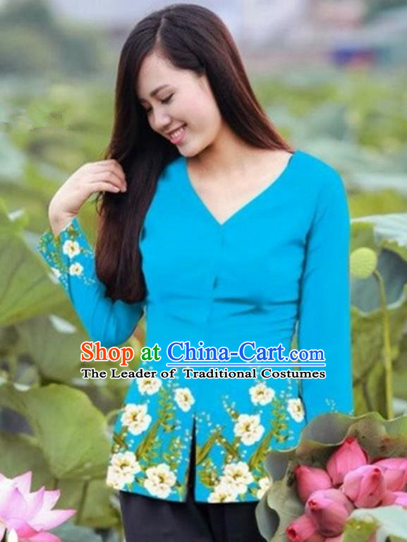 Traditional Top Grade Asian Vietnamese Costumes, Vietnam National Ao Dai Printing Blue Blouse for Women