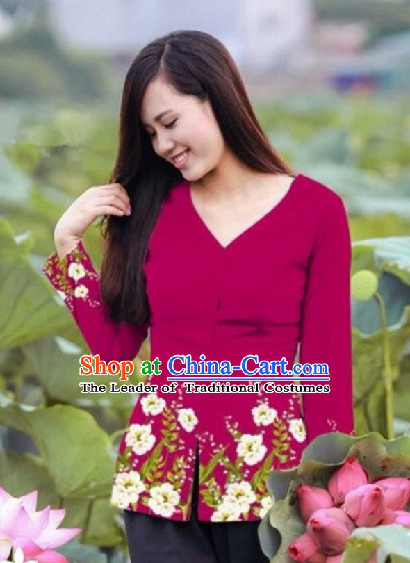 Traditional Top Grade Asian Vietnamese Costumes, Vietnam National Ao Dai Printing Wine Red Blouse for Women