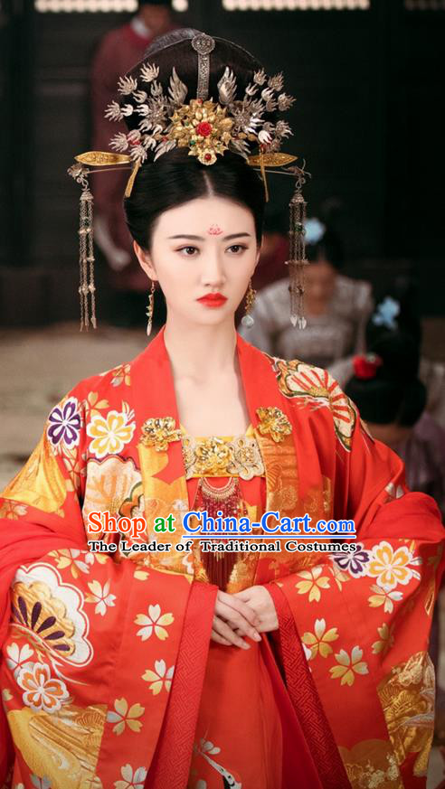 Traditional Chinese Ancient Princess Wedding Costumes and Phoenix Coronet Handmade Headpiece Complete Set, The Glory of Tang Dynasty Bride Trailing Dress Clothing for Women