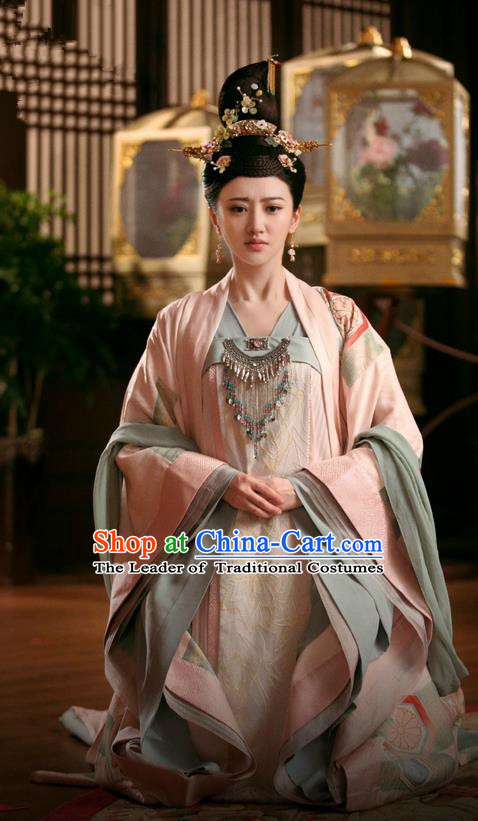 Traditional Chinese Ancient Imperial Concubine Costumes and Handmade Headpiece Complete Set, The Glory of Tang Dynasty Palace Lady Princess Trailing Dress Clothing for Women