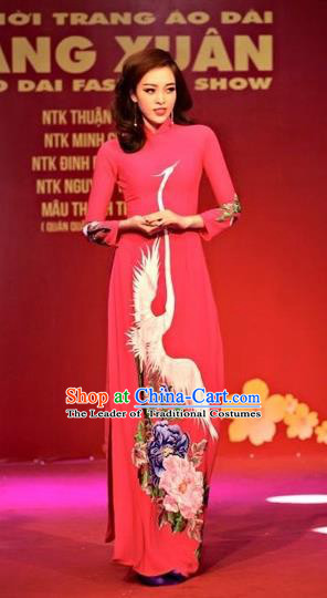 Traditional Top Grade Asian Vietnamese Costumes Classical Printing Crane Flowers Full Dress, Vietnam National Ao Dai Dress Rosy Qipao for Women