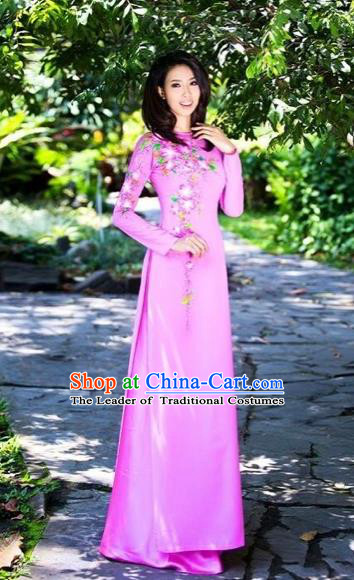 Traditional Top Grade Asian Vietnamese Costumes Classical Printing Flowers Full Dress, Vietnam National Ao Dai Dress Pink Qipao for Women