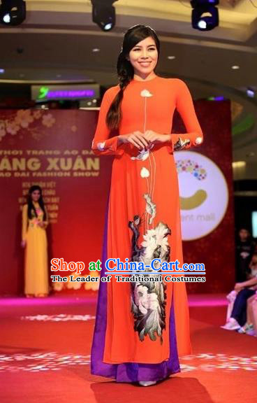 Traditional Top Grade Asian Vietnamese Costumes Classical Printing Flowers Full Dress, Vietnam National Ao Dai Dress Red Silk Qipao for Women
