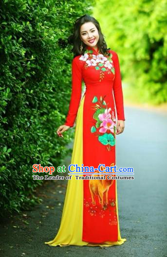 Traditional Top Grade Asian Vietnamese Costumes Classical Printing Wedding Full Dress, Vietnam National Ao Dai Dress Chinese Zodiac Pig Red Qipao for Women