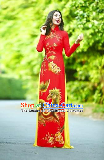 Traditional Top Grade Asian Vietnamese Costumes Classical Printing Wedding Full Dress, Vietnam National Ao Dai Dress Chinese Zodiac Horse Red Qipao for Women