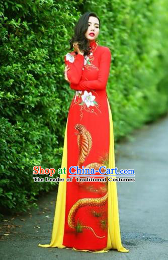 Traditional Top Grade Asian Vietnamese Costumes Classical Printing Wedding Full Dress, Vietnam National Ao Dai Dress Chinese Zodiac Snake Red Qipao for Women