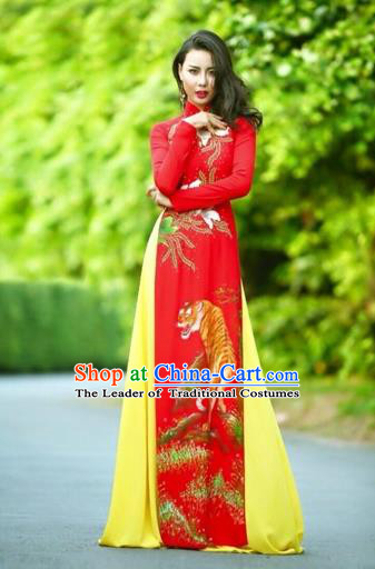 Traditional Top Grade Asian Vietnamese Costumes Classical Printing Wedding Full Dress, Vietnam National Ao Dai Dress Chinese Zodiac Tiger Red Qipao for Women
