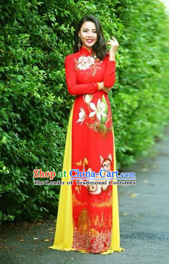 Traditional Top Grade Asian Vietnamese Costumes Classical Printing Wedding Full Dress, Vietnam National Ao Dai Dress Cat Red Qipao for Women