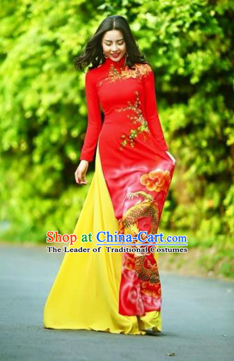 Traditional Top Grade Asian Vietnamese Costumes Classical Printing Wedding Full Dress, Vietnam National Ao Dai Dress Chinese Zodiac Dragon Red Qipao for Women
