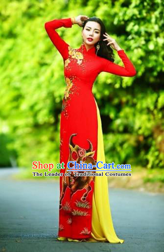 Traditional Top Grade Asian Vietnamese Costumes Classical Printing Wedding Full Dress, Vietnam National Ao Dai Dress Chinese Zodiac Ox Red Qipao for Women