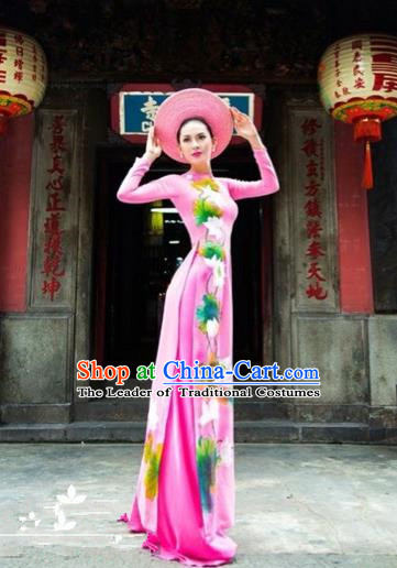 Traditional Top Grade Asian Vietnamese Costumes Classical Printing Wedding Full Dress, Vietnam National Ao Dai Dress Pink Bride Qipao for Women