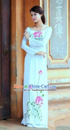 Traditional Top Grade Asian Vietnamese Costumes Classical Hand Printing Lotus Flowers Dowager Full Dress, Vietnam National Ao Dai Dress Bride White Chiffon Qipao for Women
