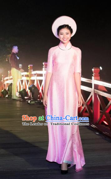 Traditional Top Grade Asian Vietnamese Costumes Classical Wedding Full Dress, Vietnam National Ao Dai Dress Bride Pink Stand Collar Qipao for Women