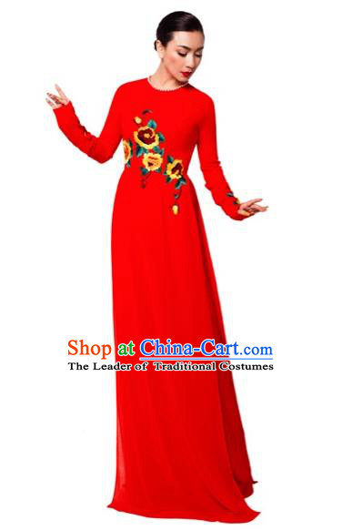 Traditional Top Grade Asian Vietnamese Costumes Classical Printing Wedding Full Dress, Vietnam National Ao Dai Dress Bride Red Round Collar Qipao for Women