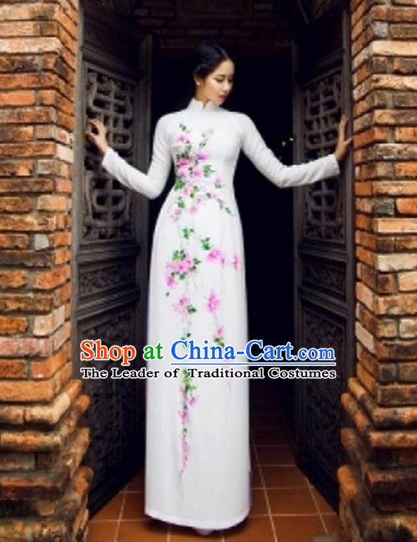 Traditional Top Grade Asian Vietnamese Costumes Classical Printing Full Dress, Vietnam National Ao Dai Dress Catwalks White Qipao for Women