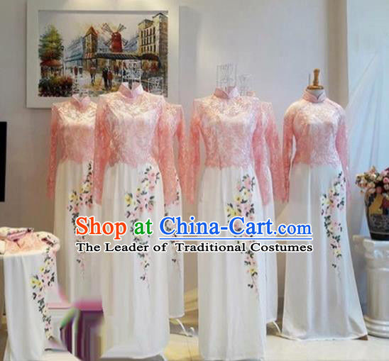 Traditional Top Grade Asian Vietnamese Costumes Classical Printing Lace Full Dress, Vietnam National Ao Dai Dress Catwalks Bridesmaid Pink Qipao for Women