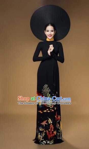 Traditional Top Grade Asian Vietnamese Costumes Classical Printing Full Dress, Vietnam National Ao Dai Dress Catwalks Bride Black Qipao for Women