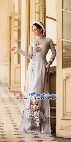 Traditional Top Grade Asian Vietnamese Costumes Classical Printing Full Dress, Vietnam National Ao Dai Dress Catwalks Bride White Qipao for Women
