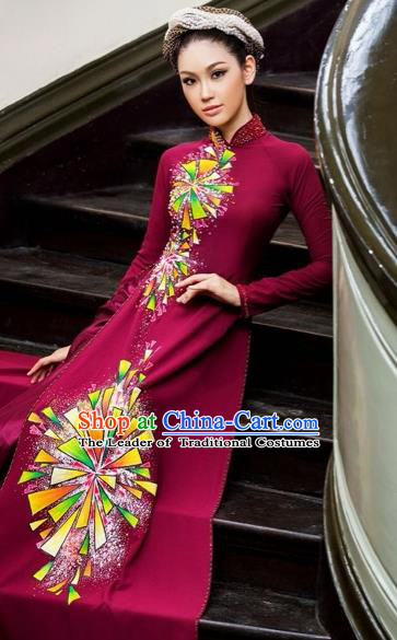 Traditional Top Grade Asian Vietnamese Costumes Classical Hand Painting Wine Red Full Dress, Vietnam National Ao Dai Dress Catwalks Bride Beading Qipao for Women