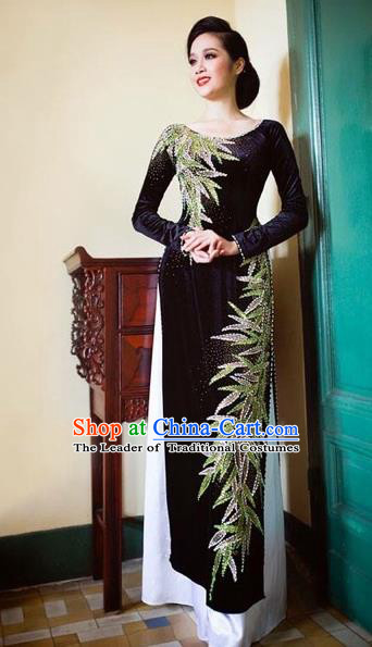 Traditional Top Grade Asian Vietnamese Costumes Classical Black Pleuche Full Dress, Vietnam National Ao Dai Dress Catwalks Bride Beading Qipao for Women