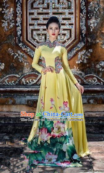 Traditional Top Grade Asian Vietnamese Costumes Classical Hand Painting Lotus Big Swing Full Dress, Vietnam National Ao Dai Dress Catwalks Dowager Yellow Qipao for Women