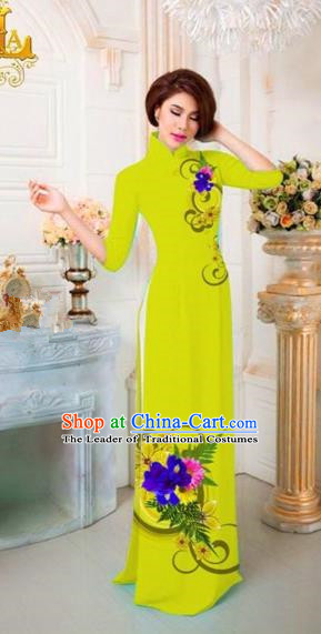 Traditional Top Grade Asian Vietnamese Costumes Classical Printing Flowers Full Dress, Vietnam National Ao Dai Dress Catwalks Princess Kelly Qipao for Women
