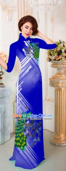 Traditional Top Grade Asian Vietnamese Costumes Classical Printing Peacock Full Dress, Vietnam National Ao Dai Dress Catwalks Princess Royalblue Qipao for Women