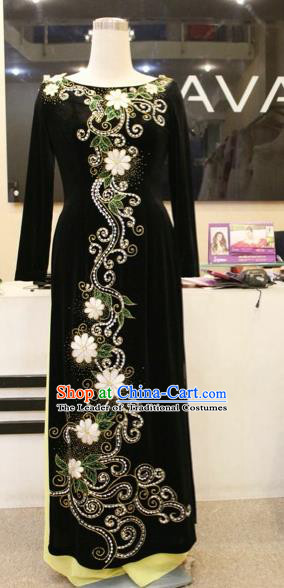 Traditional Top Grade Asian Vietnamese Costumes Classical Beading Wedding Pleuche Full Dress, Vietnam National Ao Dai Dress Catwalks Bride Black Qipao for Women