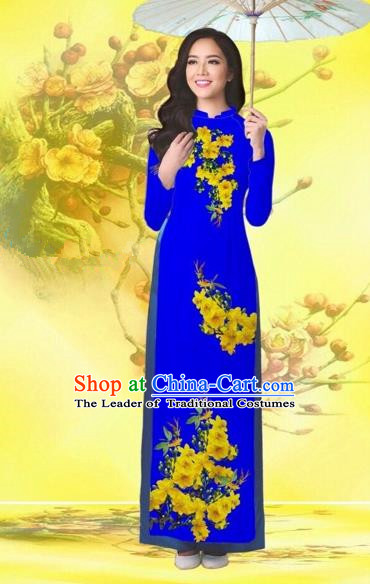 Traditional Top Grade Asian Vietnamese Costumes Classical Printing Flowers Wedding Royalblue Full Dress, Vietnam National Ao Dai Dress Catwalks Bride Qipao for Women
