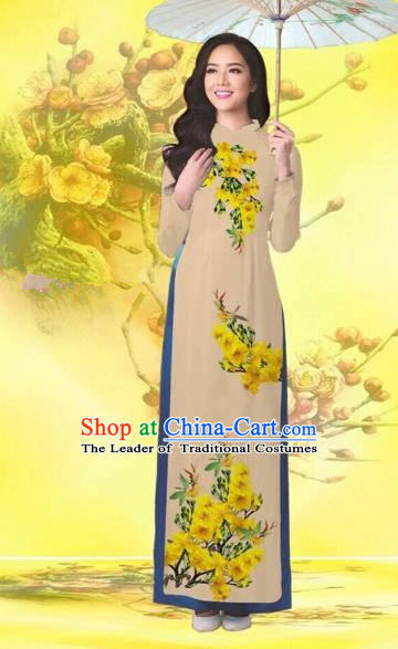 Traditional Top Grade Asian Vietnamese Costumes Classical Printing Flowers Wedding Khaki Full Dress, Vietnam National Ao Dai Dress Catwalks Bride Qipao for Women