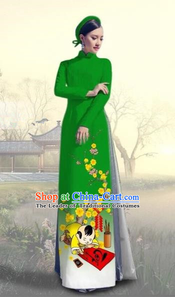 Traditional Top Grade Asian Vietnamese Costumes Classical Printing New Year Full Dress, Vietnam National Ao Dai Dress Catwalks Green Qipao for Women