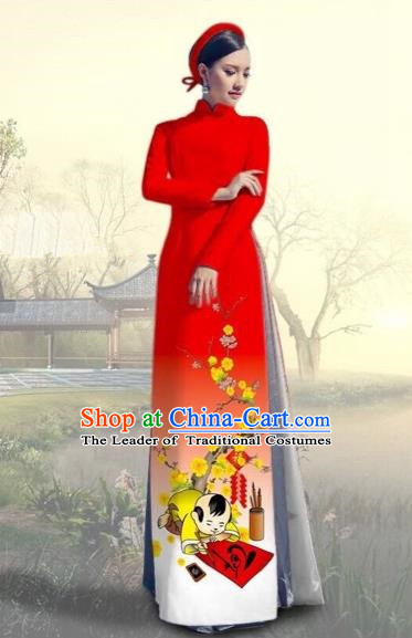 Traditional Top Grade Asian Vietnamese Costumes Classical Printing New Year Full Dress, Vietnam National Ao Dai Dress Catwalks Red Qipao for Women