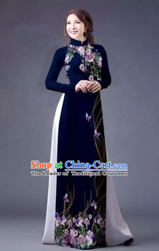 Traditional Top Grade Asian Vietnamese Costumes Classical Printing Flowers Full Dress, Vietnam National Ao Dai Dress Catwalks Navy Qipao for Women