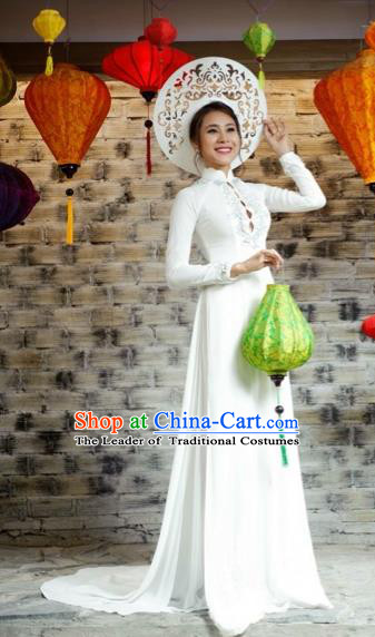 Traditional Top Grade Asian Vietnamese Costumes Classical Embroidery Full Dress, Vietnam National Ao Dai Dress Catwalks Bride White Qipao for Women