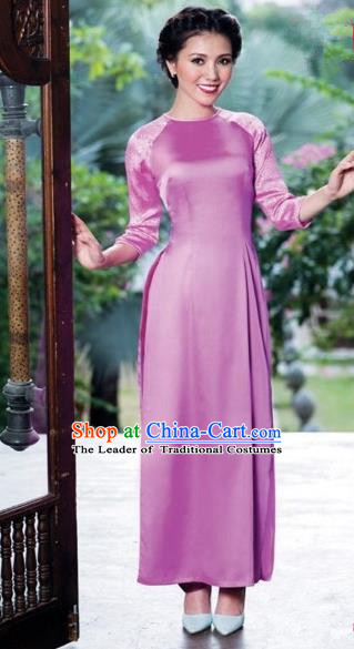 Traditional Top Grade Asian Vietnamese Costumes Classical Pink Full Dress, Vietnam National Ao Dai Dress Catwalks Bride Qipao for Women