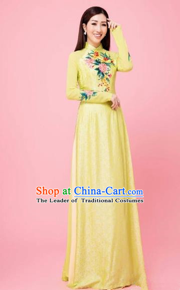 Traditional Top Grade Asian Vietnamese Costumes Classical Hand Embroidery Wedding Full Dress, Vietnam National Ao Dai Dress Bride Yellow Stand Collar Qipao for Women