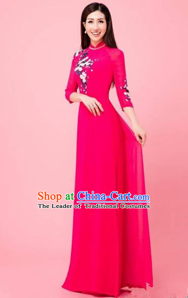 Traditional Top Grade Asian Vietnamese Costumes Classical Hand Embroidery Wedding Full Dress, Vietnam National Ao Dai Dress Bride Rosy Stand Collar Qipao for Women