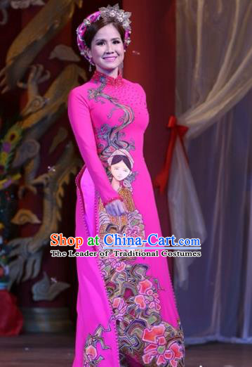 Traditional Top Grade Asian Vietnamese Costumes Classical Printing Wedding Full Dress, Vietnam National Ao Dai Dress Bride Rosy Stand Collar Qipao for Women