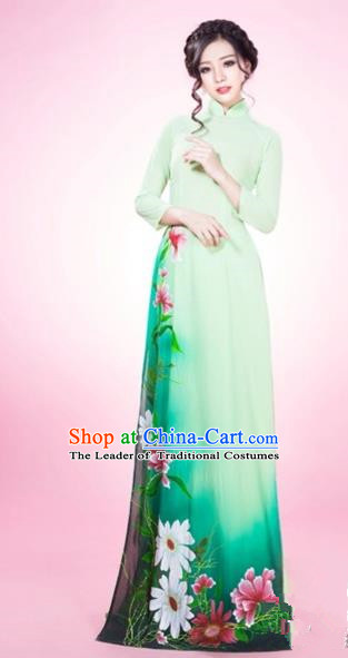 Traditional Top Grade Asian Vietnamese Costumes Classical Silk Full Dress and Loose Pants, Vietnam National Ao Dai Dress Green Qipao for Women
