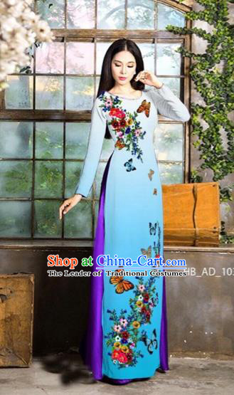 Traditional Top Grade Asian Vietnamese Costumes Classical Love of Butterfly Full Dress, Vietnam National Ao Dai Dress Blue Qipao for Women