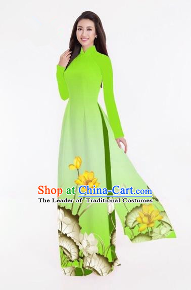 Traditional Top Grade Asian Vietnamese Costumes Classical Printing Lotus Full Dress, Vietnam National Ao Dai Dress Catwalks Light Green Qipao for Women