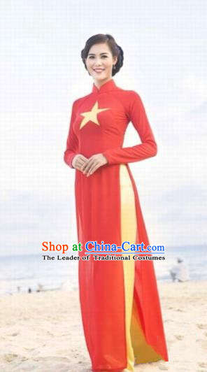 Traditional Top Grade Asian Vietnamese Costumes Classical Full Dress, Vietnam National Ao Dai Dress Red Qipao for Women