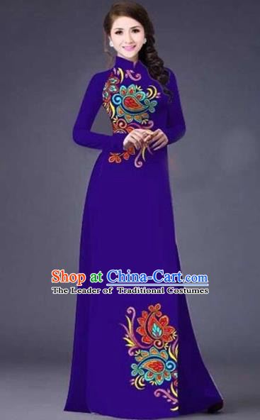 Traditional Top Grade Asian Vietnamese Costumes Classical Printing Flowers Pattern Full Dress, Vietnam National Ao Dai Dress Catwalks Purple Qipao for Women