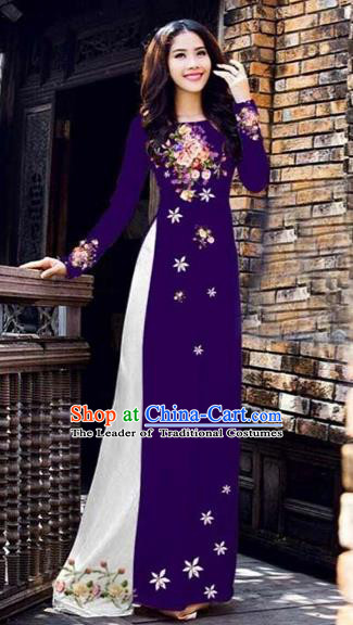 Traditional Top Grade Asian Vietnamese Costumes Classical Printing Peony Pattern Full Dress, Vietnam National Ao Dai Dress Catwalks Deep Purple Qipao for Women