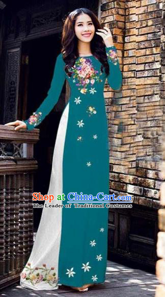 Traditional Top Grade Asian Vietnamese Costumes Classical Printing Peony Pattern Full Dress, Vietnam National Ao Dai Dress Catwalks Peacock Blue Qipao for Women