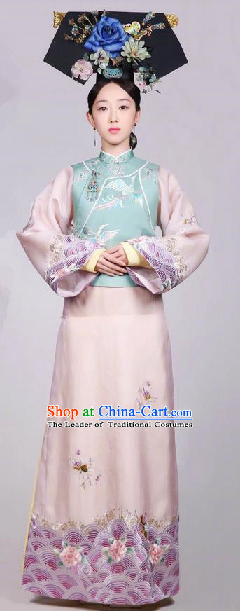 Traditional Chinese Ancient Qing Dynasty Imperial Princess Costume and Headwear Complete Set, Above The Clouds Chinese Mandarin Robes Palace Lady Embroidered Clothing for Women