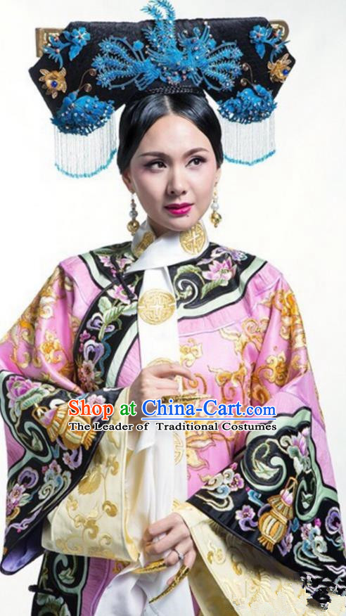 Traditional Chinese Ancient Qing Dynasty Manchu Imperial Dowager Costume and Handmade Headpiece Complete Set, Above The Clouds Chinese Mandarin Nobility Robes Imperial Concubine Embroidered Clothing for Women